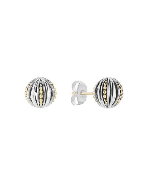Lagos - Metallic 18k Gold & Sterling Silver Caviar Talisman Beaded Open Ball Stud Earrings - Lyst