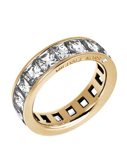 Michael Kors - Metallic Square Cut Cubic Zirconia Ring - Lyst