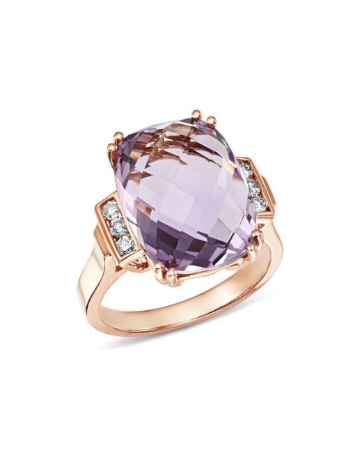 Bloomingdale's - Metallic Amethyst Cushion & Diamond Statement Ring In 14k Rose Gold - Lyst