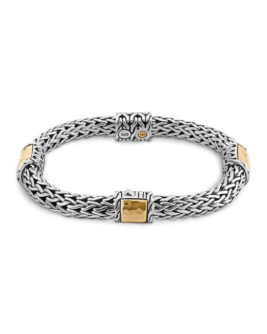 John Hardy - Metallic Sterling Silver And 18k Bonded Gold Palu Four Station Bracelet - Lyst