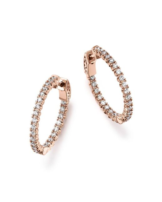 Bloomingdale's - Multicolor Diamond Inside Out Hoop Earrings In 14k Rose Gold, 1.0 Ct. T.w. - Lyst