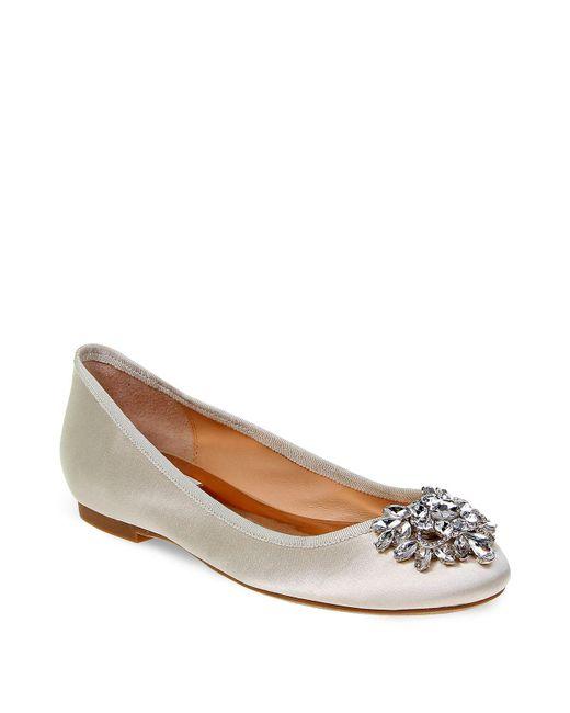 Badgley Mischka - White Bianca Jeweled Ballet Flats - Lyst