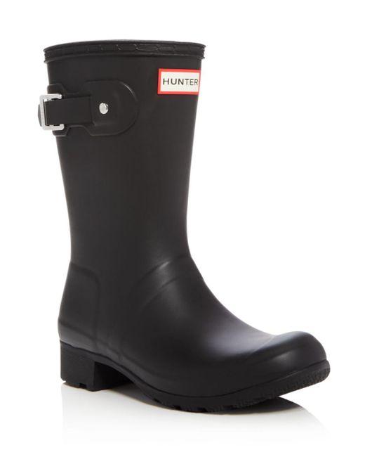 Hunter - Black Women's Original Tour Packable Short Rain Boots - Lyst
