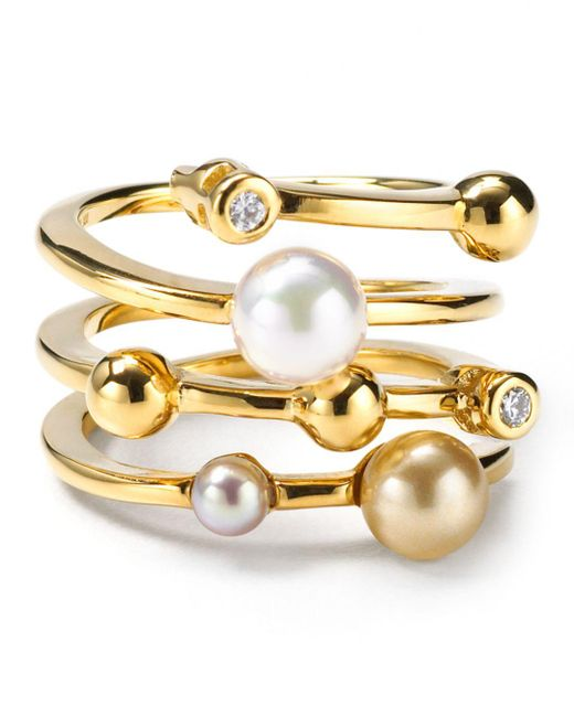 Majorica - Metallic Endless Simulated Pearl Ring - Lyst