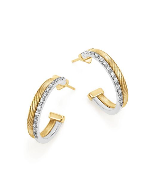 Marco Bicego - Metallic 18k Yellow & White Gold Masai Two Row Pavé Diamond Hoop Earrings - Lyst