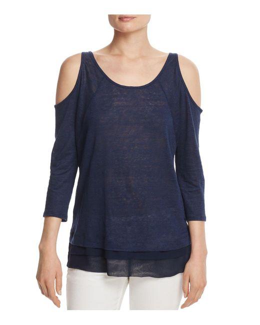 Three Dots | Blue Linen Cold Shoulder Top | Lyst
