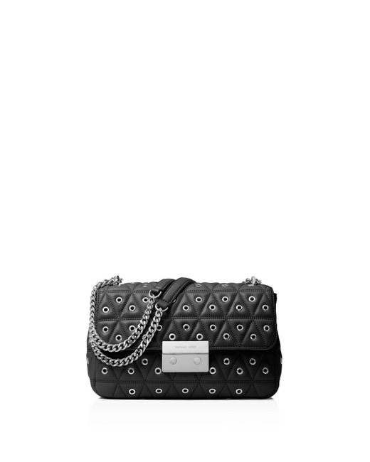 MICHAEL Michael Kors | Black Sloan Grommet Large Quilted Leather Shoulder Bag | Lyst