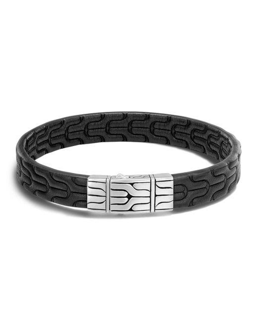 John Hardy - Metallic Men's Sterling Silver Classic Chain Bracelet With Black Leather for Men - Lyst