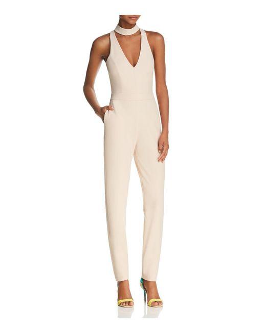 Karina Grimaldi | Natural Vanna Solid Cutout-front Jumpsuit | Lyst
