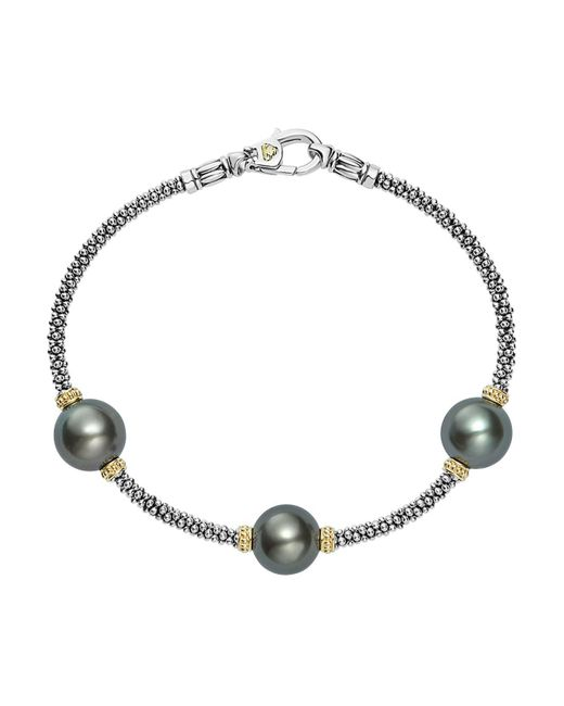 Lagos | Metallic 18k Gold And Sterling Silver Luna Cultured Freshwater Black Pearl Triple Station Bracelet | Lyst