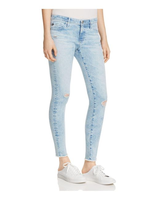 AG Jeans | Blue Acid Wash Denim Leggings In Charming | Lyst