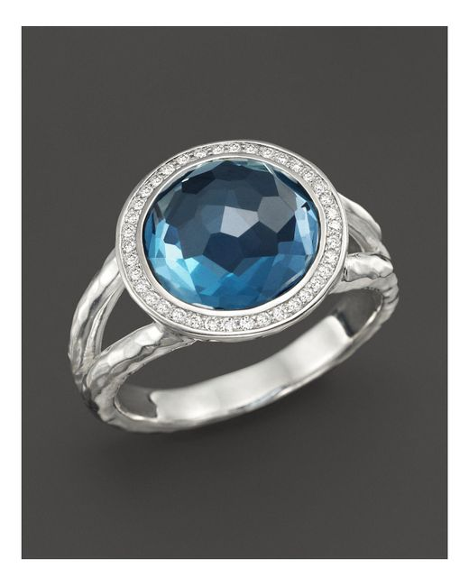 Ippolita - Metallic Sterling Silver Stella Mini Lollipop Ring In London Blue Topaz With Diamonds - Lyst