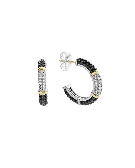 Lagos | Metallic Black Caviar Ceramic 18k Gold And Sterling Silver 3 Station Hoop Earrings With Diamonds | Lyst