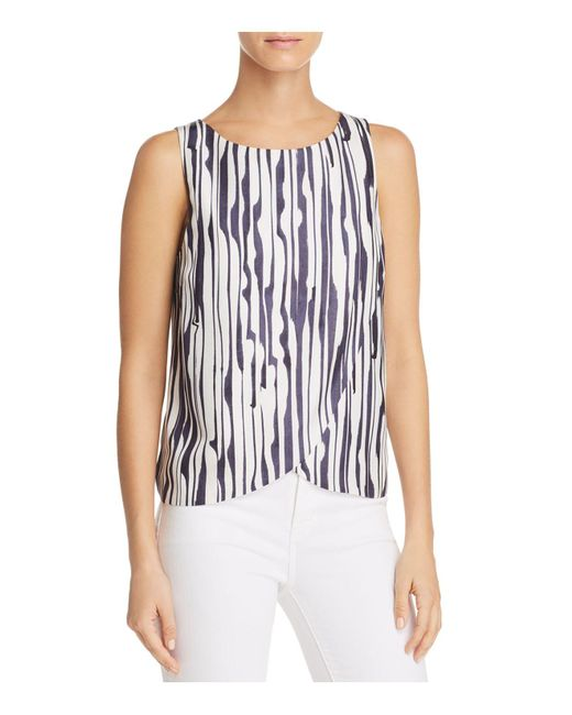 Theory - Blue Mintorey Printed Silk Top - Lyst
