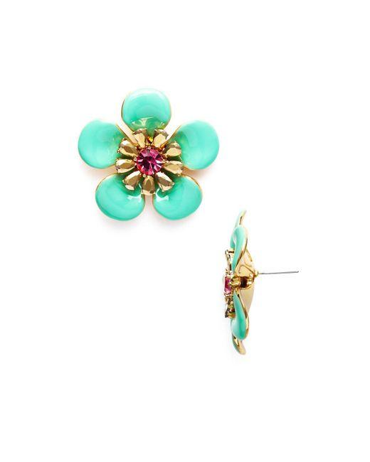 Kate Spade - Green Flower Stud Earrings - Lyst