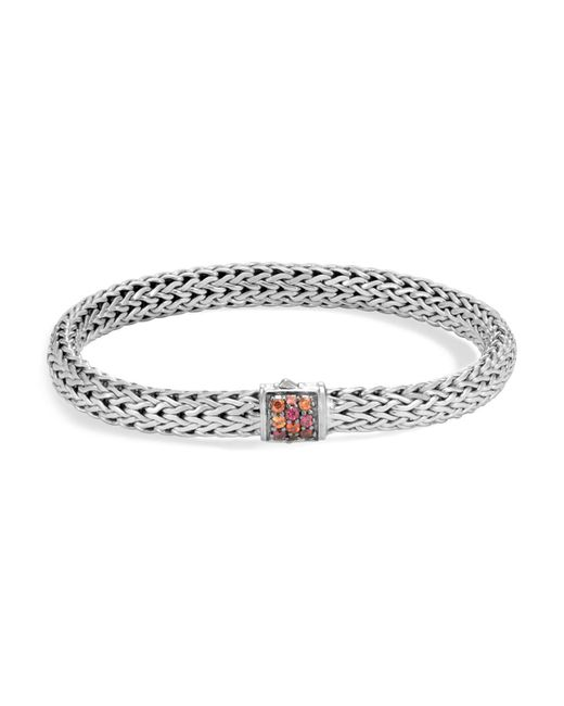 John Hardy - Metallic Sterling Silver Classic Chain Lava Small Bracelet With Garnet - Lyst