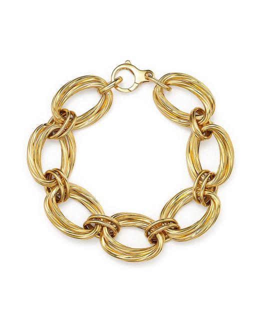 Roberto Coin | Metallic 18k Yellow Gold Oval Double Link Bracelet | Lyst