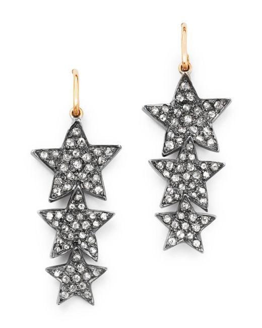 Shebee - Multicolor 14k Yellow Gold & Diamond Triple Star Drop Earrings - Lyst
