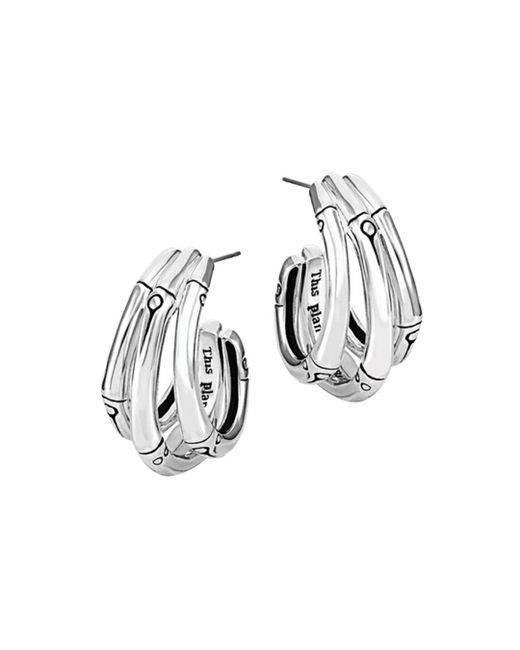 John Hardy - Metallic Bamboo Silver Small J Hoop Earrings - Lyst