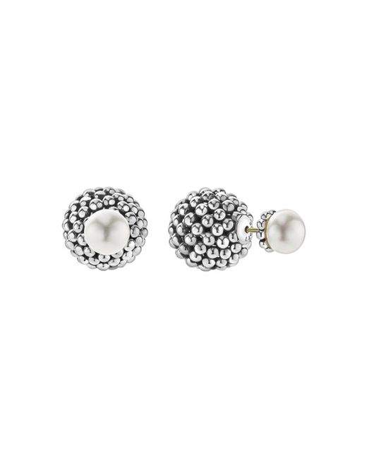 Lagos - Metallic Sterling Silver Signature Caviar Cultured Freshwater Pearl Front-back Earrings - Lyst
