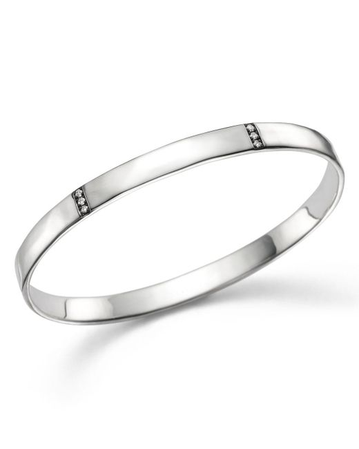 Ippolita - Metallic Sterling Silver Glamazon® Stardust 3 Section Medium Bangle With Diamonds - Lyst