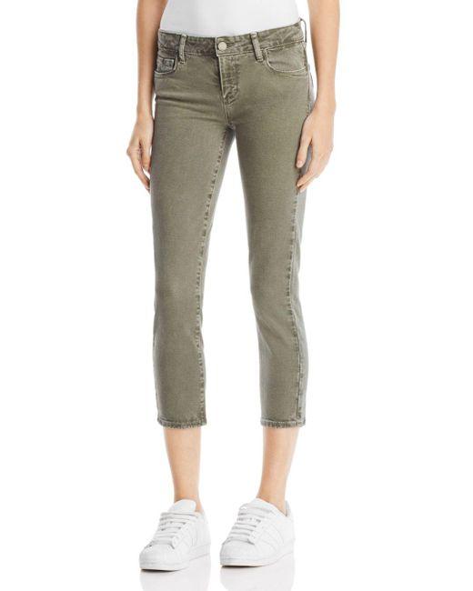 PAIGE - Skyline Skinny Crop Jeans In Faded Laurel Green - Lyst