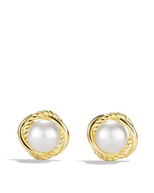 David Yurman | Metallic Infinity Earrings With Pearls In Gold | Lyst