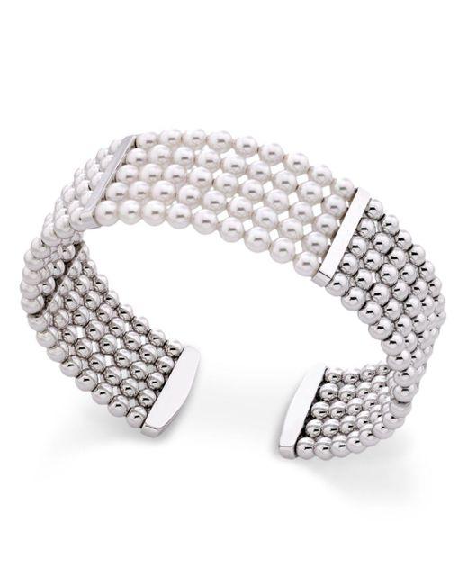Majorica - Metallic Majorca Simulated Pearl Cuff Bracelet - Lyst