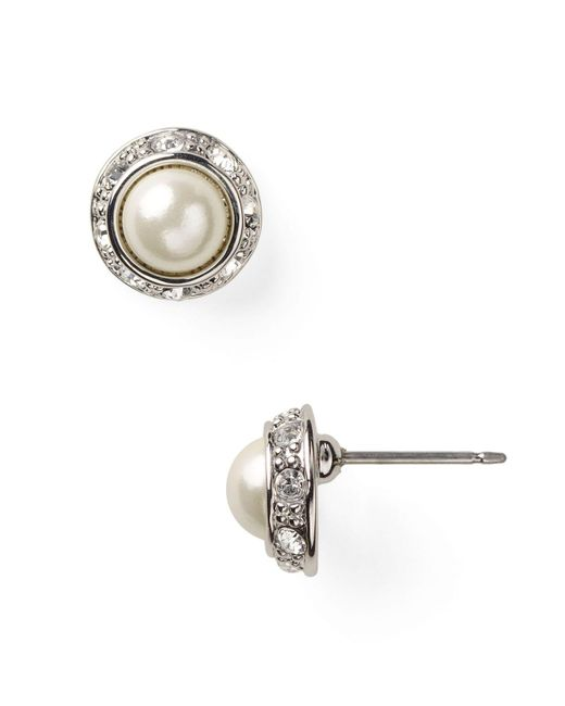 Ralph Lauren | Metallic Lauren Mini Pearl Cabochon & Pavé Bezel Stud Earrings | Lyst