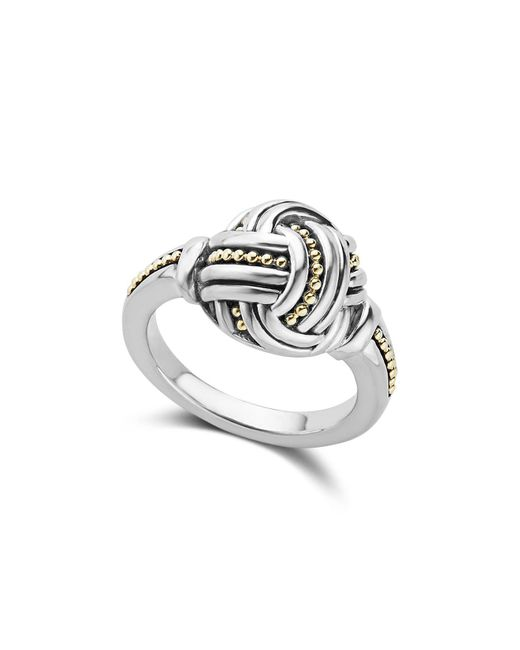 Lagos - Metallic 18k Gold & Sterling Silver Torsade Small Round Ring - Lyst