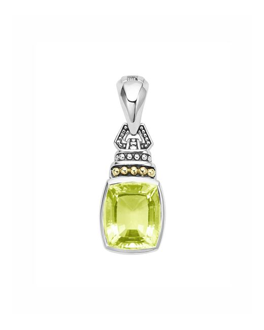 Lagos | Metallic 18k Gold And Sterling Silver Caviar Color Pendant With Green Quartz | Lyst