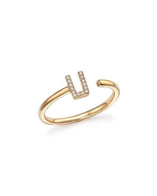 Dana Rebecca | Metallic Diamond Initial Ring In 14k Yellow Gold | Lyst