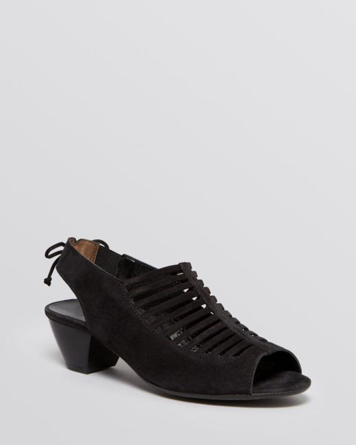 Paul Green - Black Women's Trisha Nubuck Leather Slingback Mid Heel Sandals - Lyst