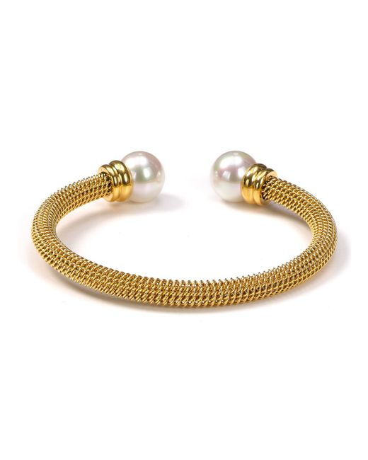 Majorica - Metallic White Simulated Pearl Cuff - Lyst