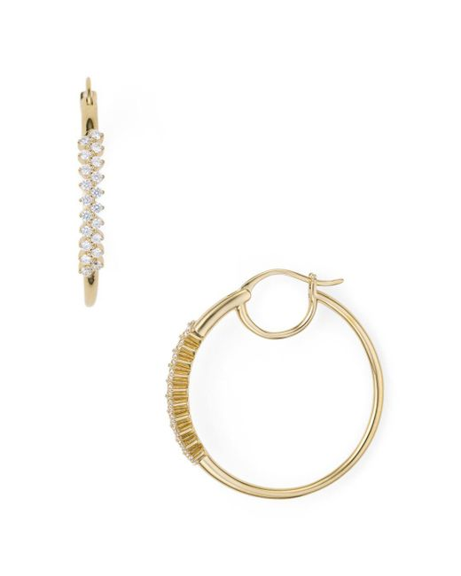 Nadri - Metallic Aura Pavé Front Hoop Earrings - Lyst