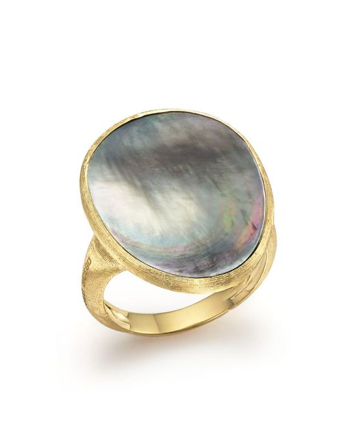 Marco Bicego | 18k Yellow Gold Lunaria Ring With Black Mother-of-pearl | Lyst