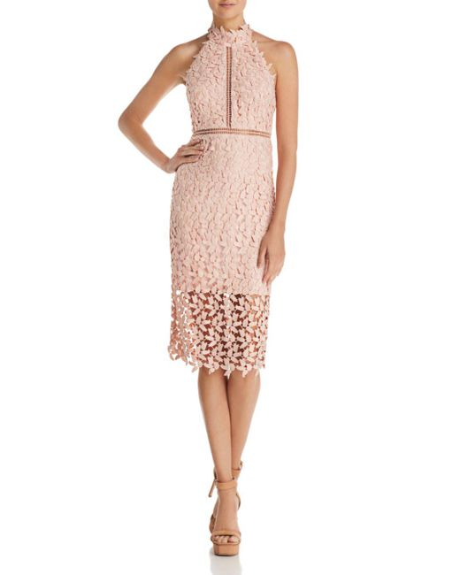 Bardot - Pink Gemma Lace Halter Dress - Lyst