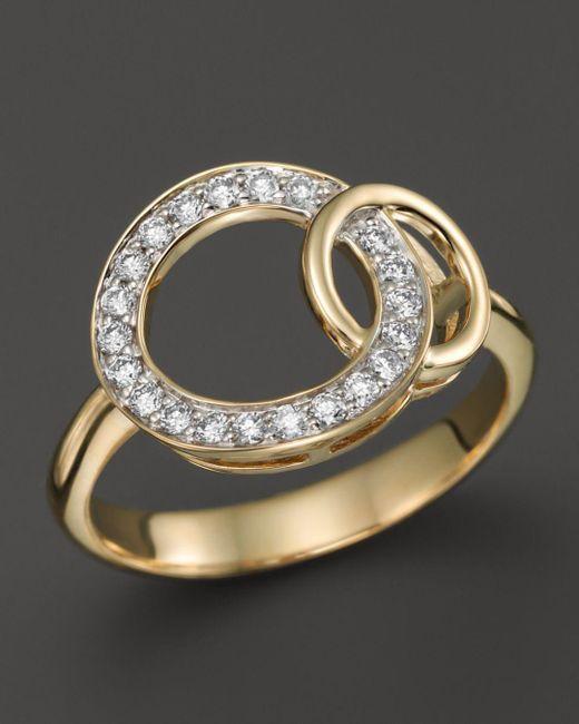 Bloomingdale's - Metallic Diamond Interlocking Circle Ring In 14k Yellow Gold, .25 Ct. T.w. - Lyst