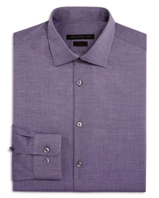 John Varvatos - Purple Cross Twill Slim Fit Stretch Dress Shirt for Men - Lyst
