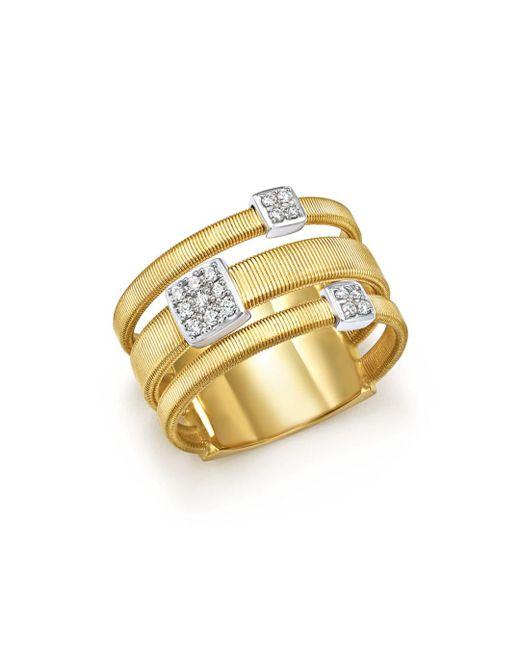 Marco Bicego - Metallic 18k White And Yellow Gold Masai Three Row Pavé Diamond Ring - Lyst