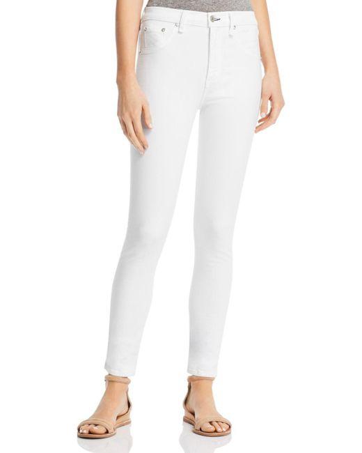 Rag & Bone - High-rise Skinny Jeans In White - Lyst