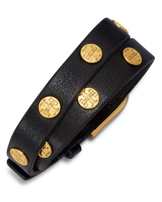 Tory Burch - Black Double Wrap Logo Stud Bracelet - Lyst