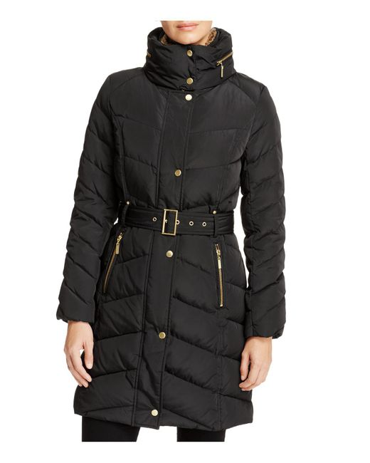 Cole Haan | Black Stand Collar Puffer Coat | Lyst
