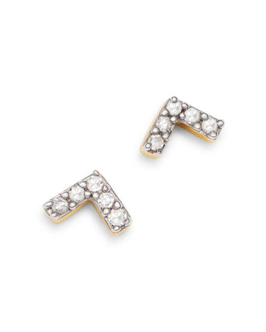 Adina Reyter Metallic 14k Yellow Gold Pavé Diamond Super Tiny V Stud Earrings