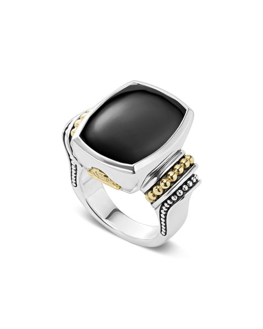 Lagos | Metallic 18k Gold And Sterling Silver Caviar Color Large Onyx Ring | Lyst
