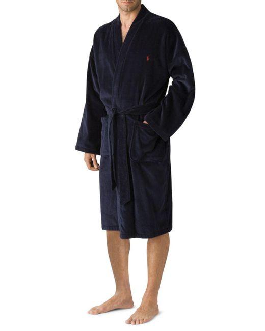Polo Ralph Lauren Blue Men's Kimono Cotton Velour Robe for men