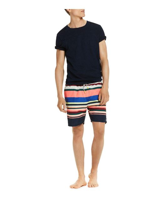 Scotch & Soda | Blue Stripe Swim Trunks for Men | Lyst