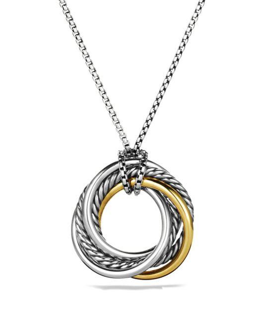 David Yurman - Metallic Sterling Silver 14k Gold Pendant Necklace - Lyst