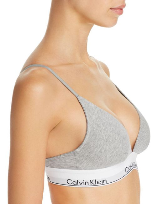 7eb738f613 ... Calvin Klein - Natural Modern Cotton Multi-way Convertible Triangle  Wireless Bralette - Lyst
