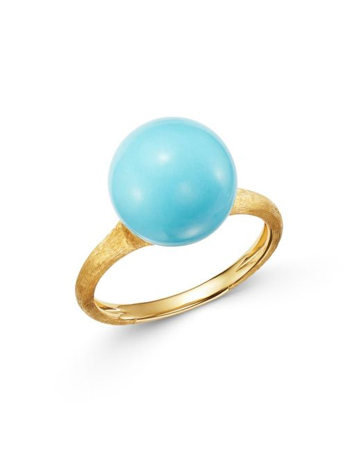 Marco Bicego Metallic 18k Yellow Gold Ring With Turquoise